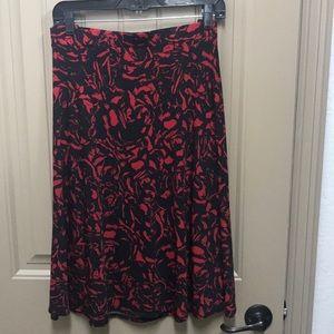 Black and Red Knee Length Skater Skirt XL